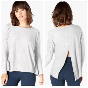 Beyond Yoga Draw The Line Tie Back Pullover top
